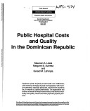 Public Hospital Costs and Quality in the Dominican Republic