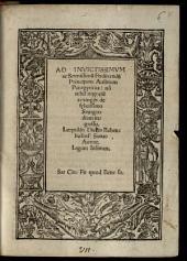 Ad Invictissimum ac Serenissimum Ferdinandum Principem Austrium Panegyricus