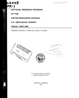 National Research Program of the Water Resources Division  U S  Geological Survey  Fiscal Year 1991