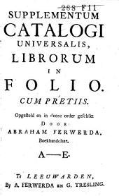 Supplementum catalogi universalis, librorum in folio cum pretiis: Volume 1