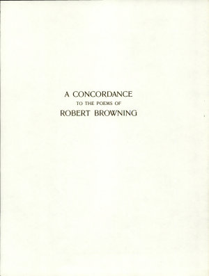 A Concordance to the Poems of Robert Browning