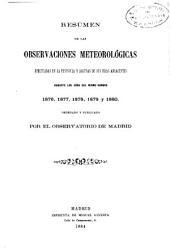 Resumen de las observaciones meteorológicas efectuadas en la península y algunas de sus islas adyacentes