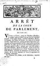 Arrêt de la Cour de Parlement du 6 août 1761