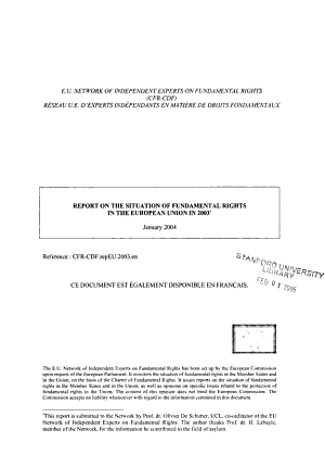 Report on the Situation of Fundamental Rights in the European Union in 2003 PDF