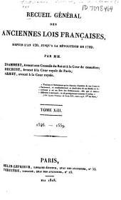 Recueil général des anciennes lois françaises: 1546-1559