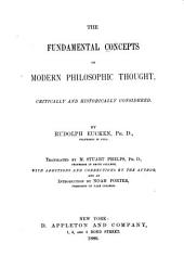 The Fundamental Concepts of Modern Philosophic Thought Critically and Historically Considered