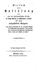 Versuch einer Auflösung der Aufgabe der Akademie zu Berlin ... die Natur der Analysis ... in der Philosophie genau anzugeben