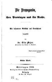 Die Propaganda, ihre Provinzen und ihr Recht: mit bes. Berücks. auf Deutschland dargest, Band 1