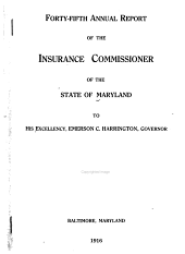 Annual Report of the Insurance Commissioner of the State of Maryland: 1915