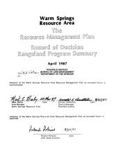 Warm Springs Resource Area: the resource management plan : record of decision, rangeland program summary