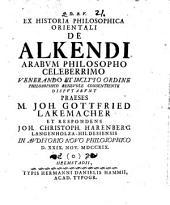Ex historia philosophica orientali, de Alkendi, Arabum philosopho celeberrimo