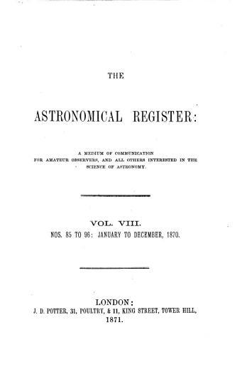 The Astronomical Register PDF