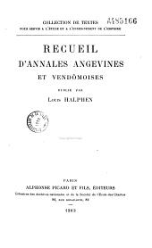 Recueil d'annales angevines et vendômoises