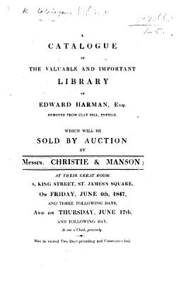 A Catalogue Of The Library Of E Harman Etc