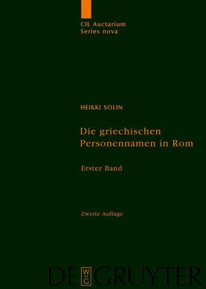 Die griechischen Personennamen in Rom PDF