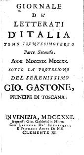 Giornale de' letterati d'Italia: Volume 33,Parte 2