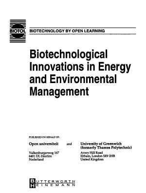 Biotechnological Innovations in Energy and Environmental Management PDF
