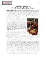 8 Week Basic Dog Handling Course   Real World Human Training for your Dog PDF