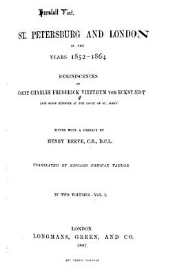 St  Petersburg and London in the Years 1852 1864 PDF