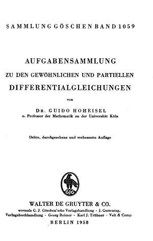 Aufgabensammlung Zu Den Gew  hnlichen und Partiellen Differentialgleichungen