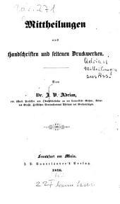 Mittheilungen aus handschriften und seltenen druckwerken