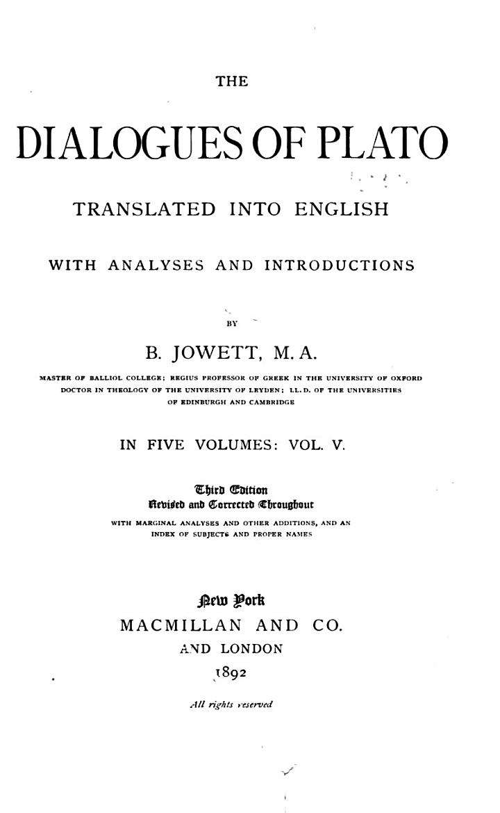 Laws. Index to the writings of Plato