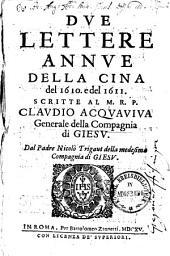 Due Lettere annue della Cina del 1610 & del 1611