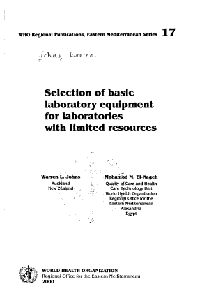 Selection of Basic Laboratory Equipment for Laboratories with Limited Resources PDF
