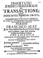 Diss. iur. inaug. de transactione