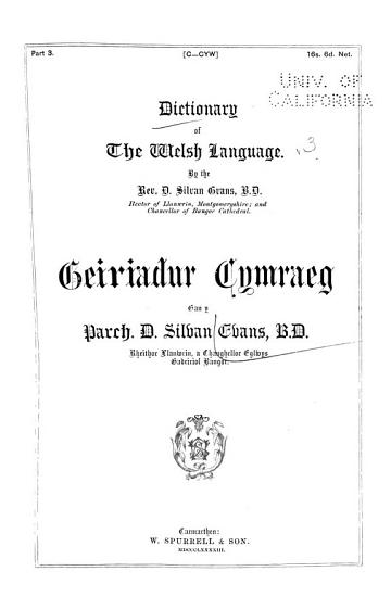 A Dictionary of the Welsh Language  C Cyw PDF