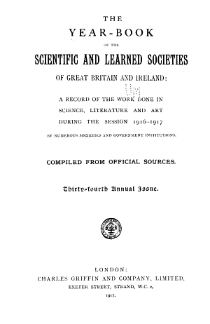 The Yearbook of the Scientific and Learned Societies of Great Britain and Ireland