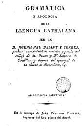 Gramática y apología de la llengua catalana