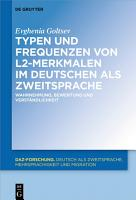Typen und Frequenzen von L2 Merkmalen im Deutschen als Zweitsprache PDF
