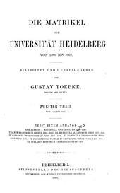Die Matrikel der Universität Heidelberg