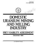 Domestic Uranium Mining and Milling Industry PDF