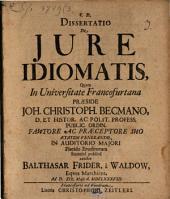 Dissertatio De Iure Idiomatis