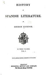 History of Spanish Literature: Volume 1