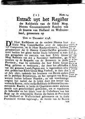 Extract uyt het register der resolutien van de [...] gecommitteerde raaden van de Staaten van Holland en Westvriesland, genoomen op den 11 december 1748