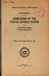 Statement of the Operation of the Postal Savings System