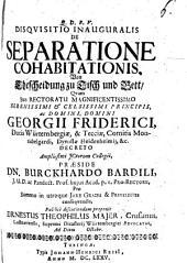 Disquisitio inauguralis De separatione cohabitationis, von Ehescheiung zu Tisch und Bett