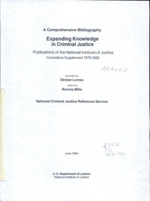 Expanding knowledge in criminal justice PDF