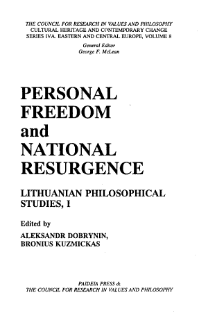 Personal Freedom and National Resurgence PDF