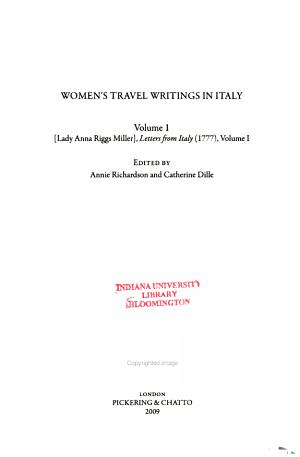 Women s Travel Writings in Italy