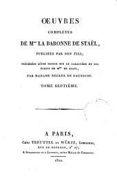 Œuvres complètes de Mme. la baronne de Staël: Delphine