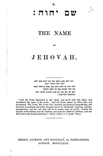 The Name of Jehovah PDF