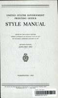 United States Government Printing Office Style Manual  Revised Edition  January 1953 PDF