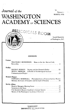 Journal of the Washington Academy of Sciences PDF