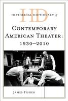 Historical Dictionary of Contemporary American Theater PDF