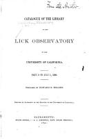 Catalogue of the Library of the Lick Observatory of the University of California PDF