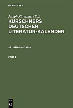 K  rschners Deutscher Literatur Kalender  59  Jahrgang 1984 PDF